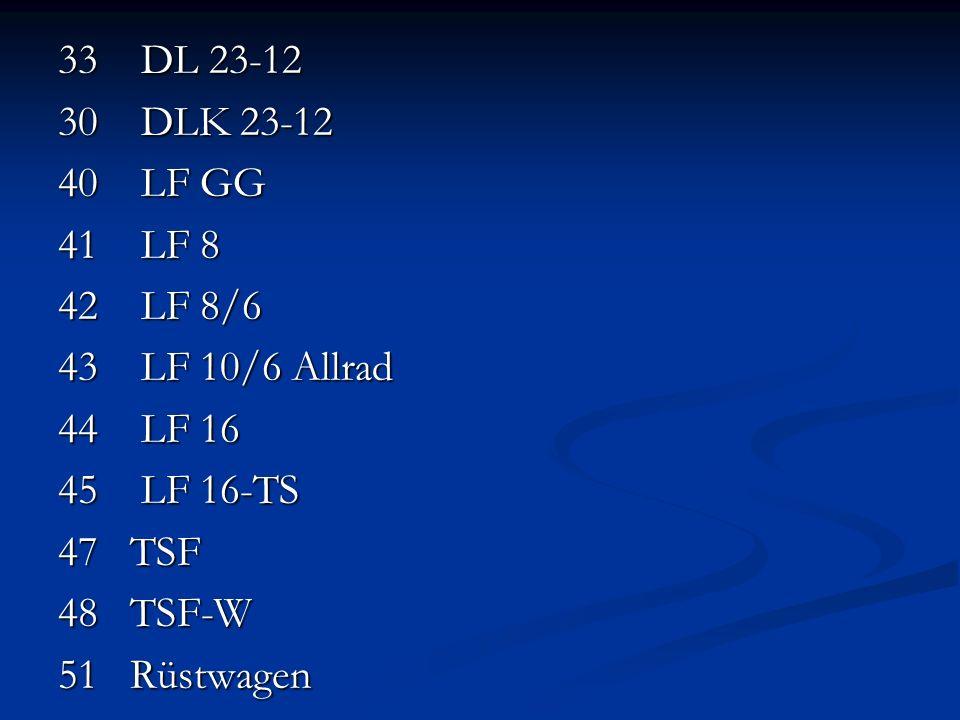 33 DL 23-12 30 DLK 23-12. 40 LF GG. 41 LF 8. 42 LF 8/6. 43 LF 10/6 Allrad. 44 LF 16.