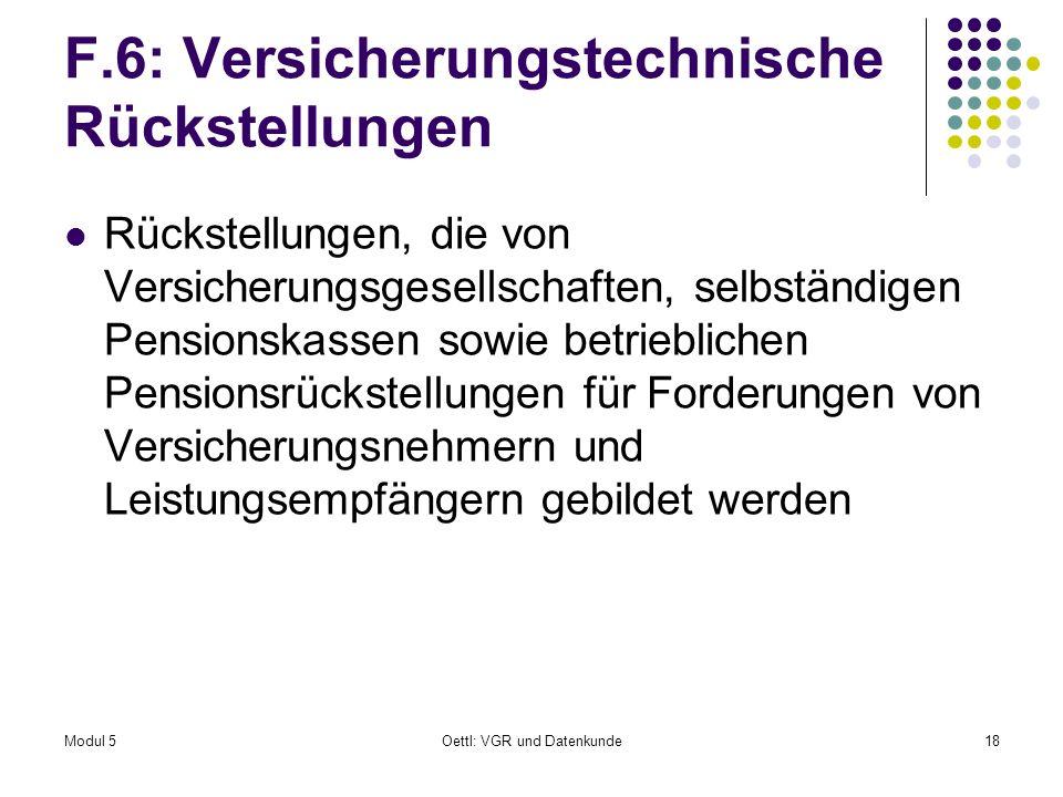 F.6: Versicherungstechnische Rückstellungen