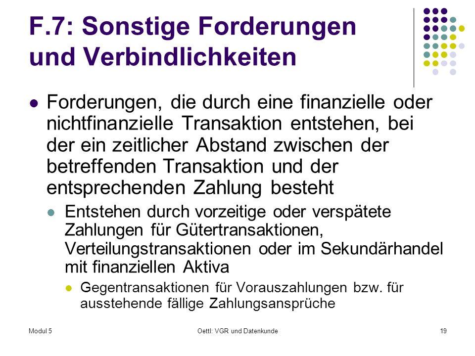 F.7: Sonstige Forderungen und Verbindlichkeiten