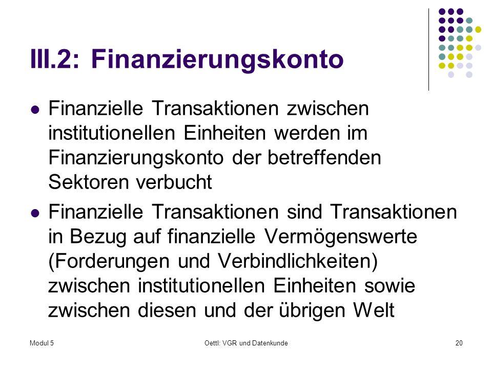 III.2: Finanzierungskonto