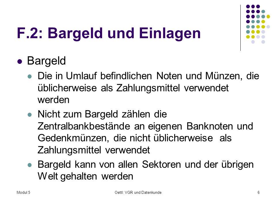 F.2: Bargeld und Einlagen