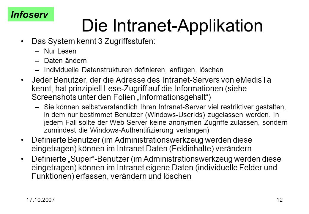 Die Intranet-Applikation