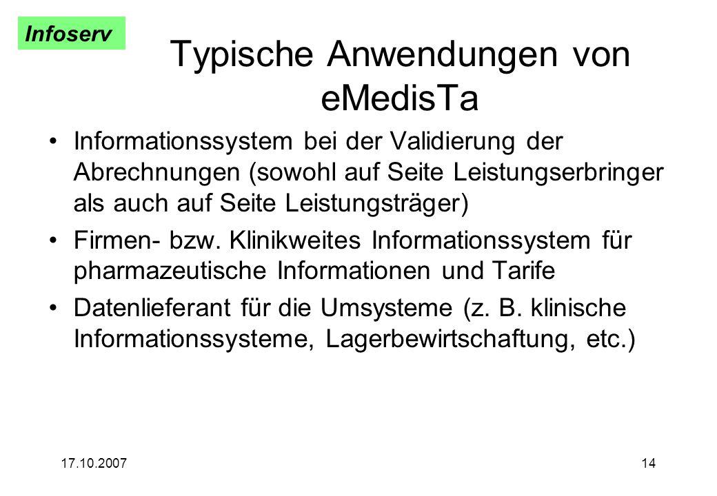 Typische Anwendungen von eMedisTa