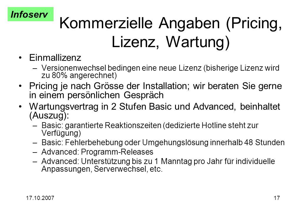 Kommerzielle Angaben (Pricing, Lizenz, Wartung)