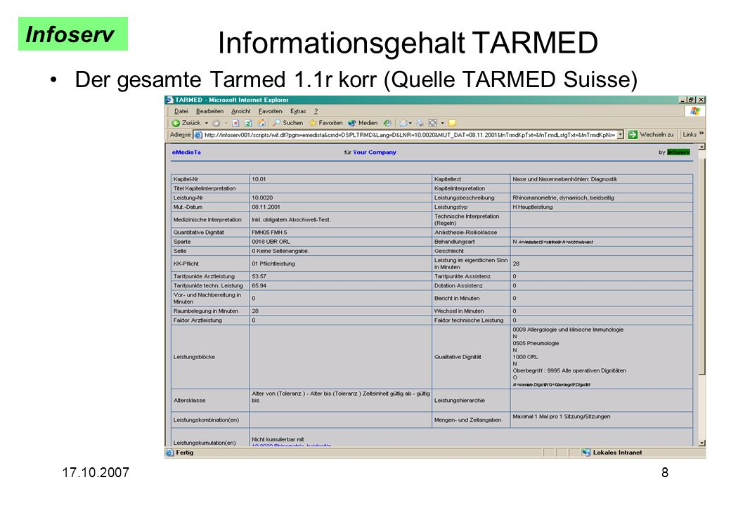 Informationsgehalt TARMED