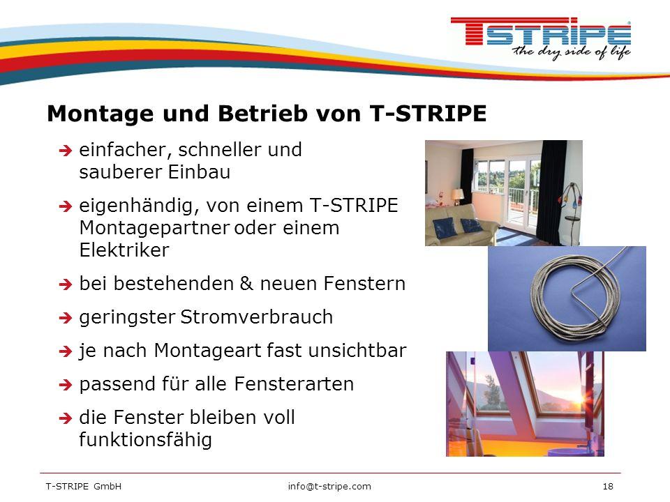 Montage und Betrieb von T-STRIPE