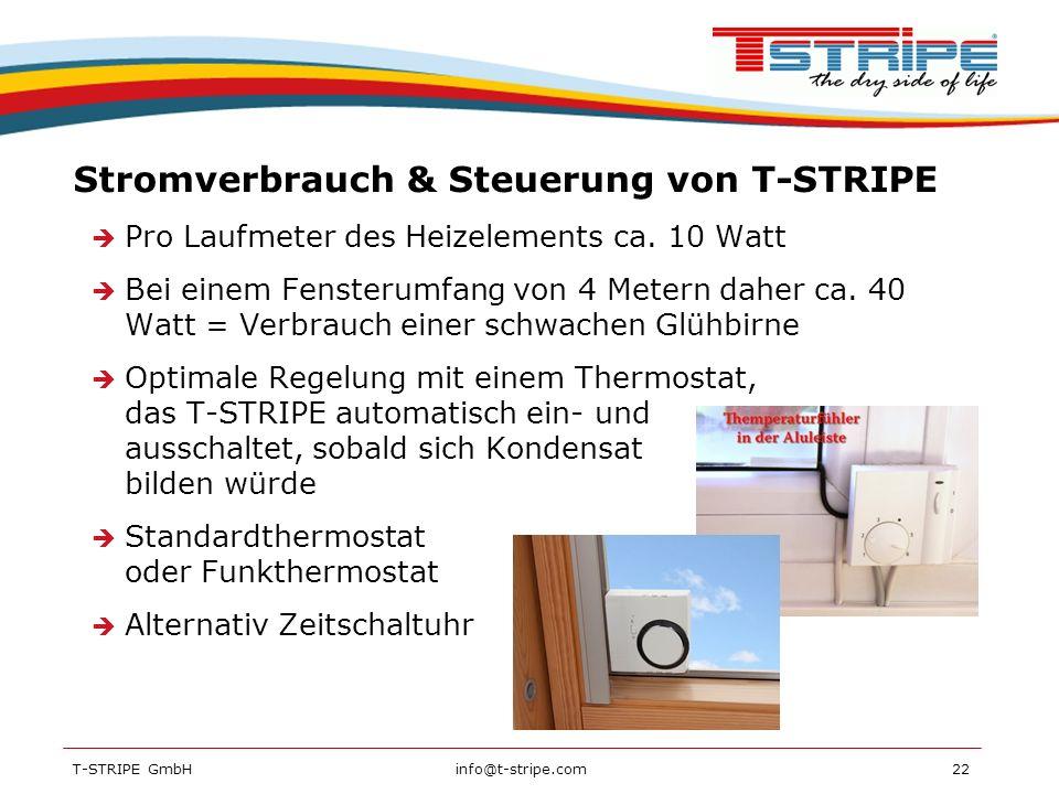Stromverbrauch & Steuerung von T-STRIPE