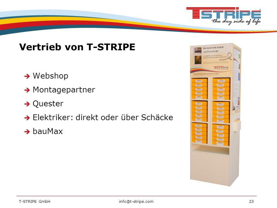 Vertrieb von T-STRIPE Webshop Montagepartner Quester
