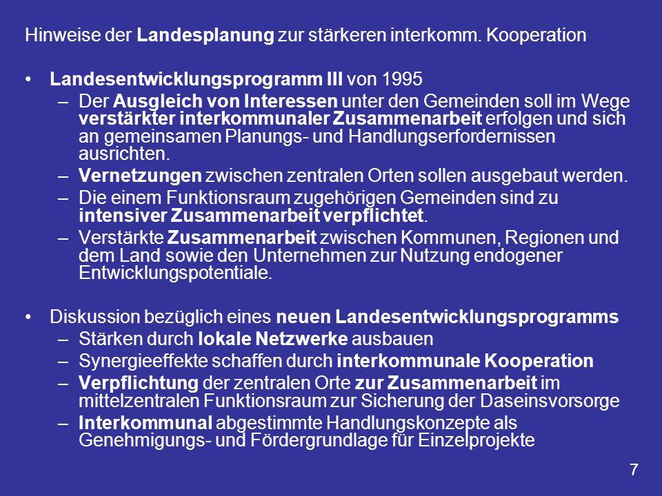 Hinweise der Landesplanung zur stärkeren interkomm. Kooperation
