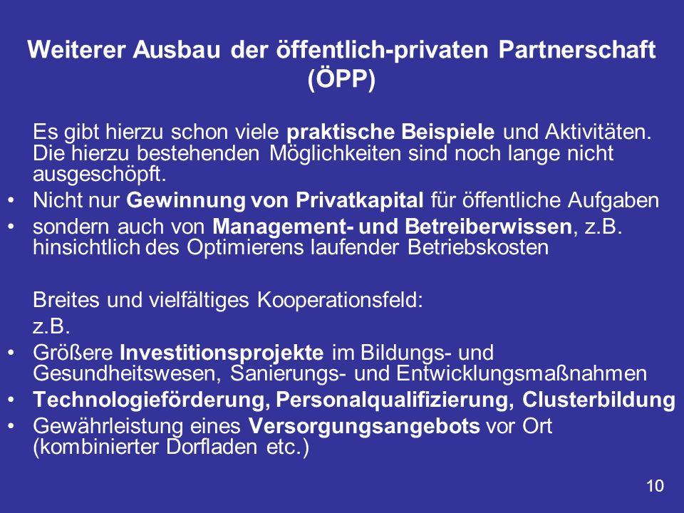 Weiterer Ausbau der öffentlich-privaten Partnerschaft (ÖPP)