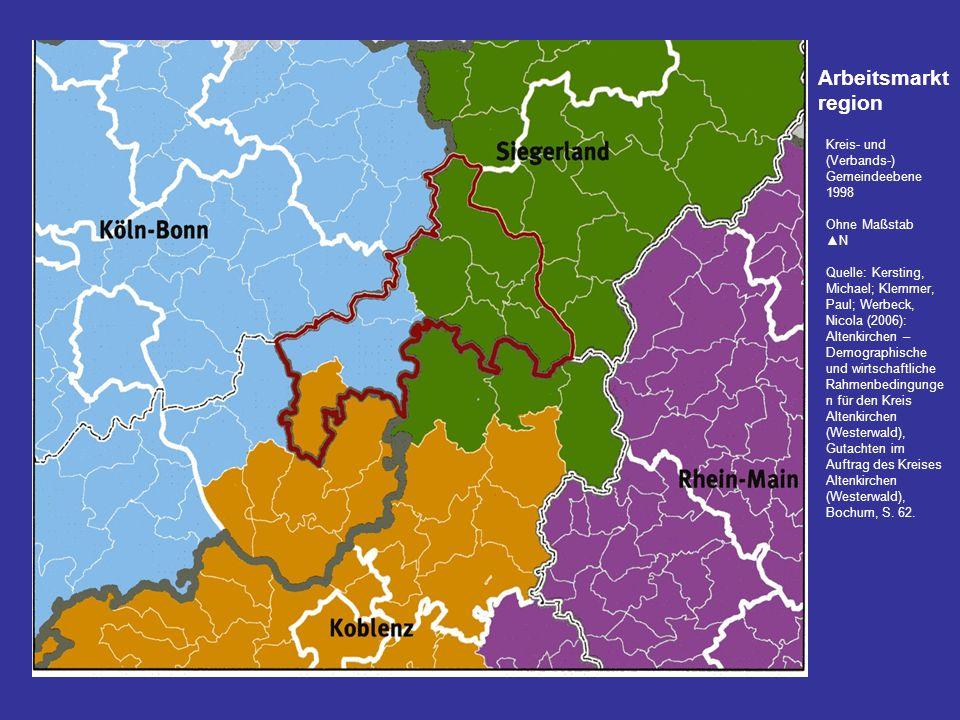 Arbeitsmarktregion Kreis- und (Verbands-) Gemeindeebene 1998
