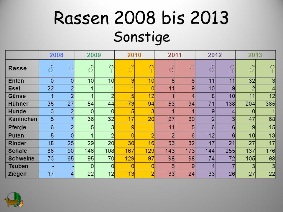 Rassen 2008 bis 2013 Sonstige ♂ ♀ 2008 2009 2010 2011 2012 2013 Rasse