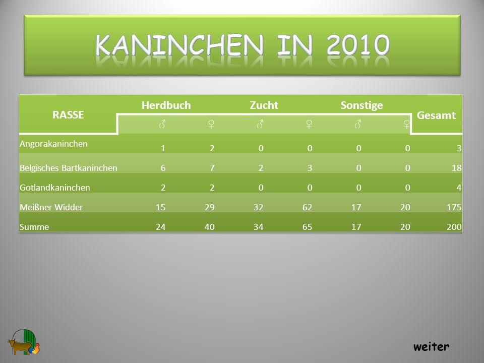 Kaninchen in 2010 RASSE Herdbuch Zucht Sonstige Gesamt weiter ♂ ♀