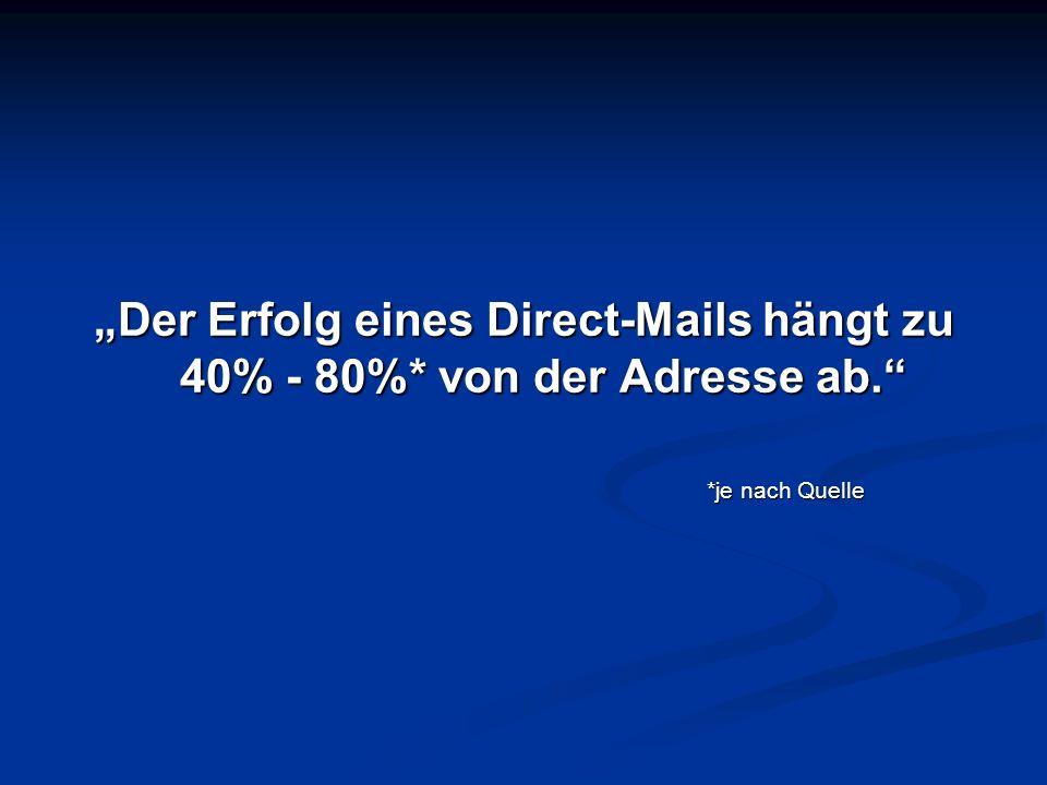 """""""Der Erfolg eines Direct-Mails hängt zu 40% - 80%. von der Adresse ab"""