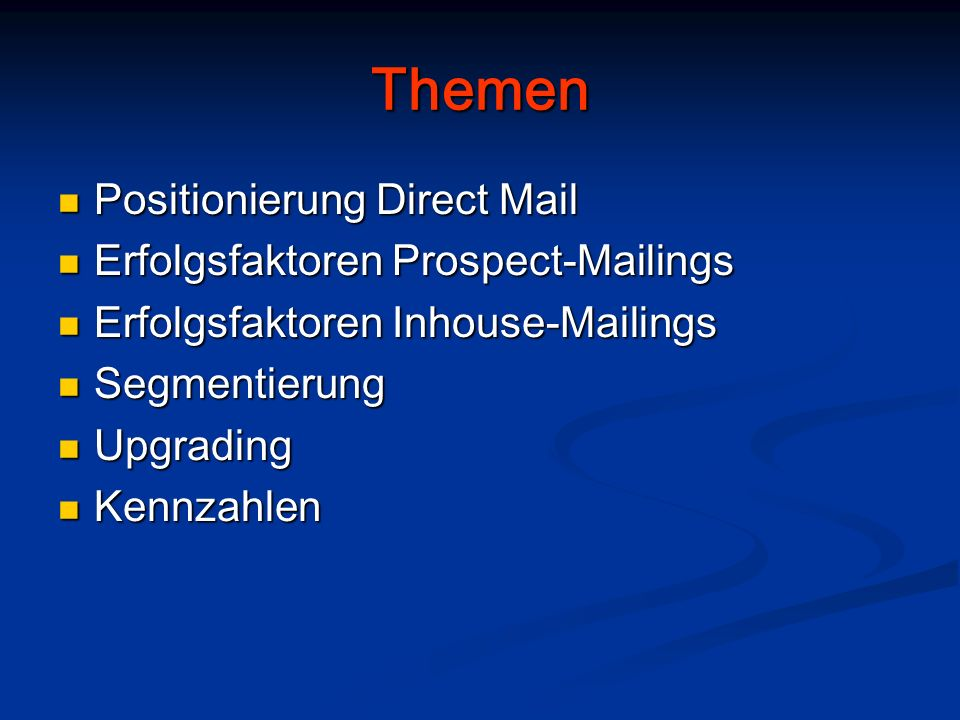 Themen Positionierung Direct Mail Erfolgsfaktoren Prospect-Mailings