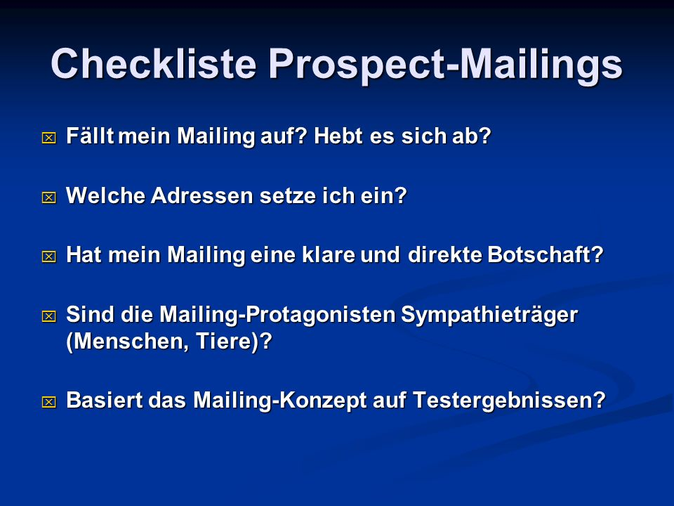 Checkliste Prospect-Mailings
