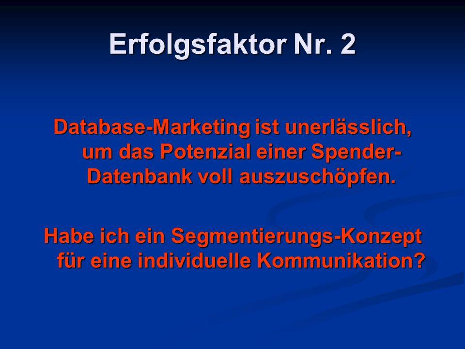 Erfolgsfaktor Nr. 2 Database-Marketing ist unerlässlich, um das Potenzial einer Spender-Datenbank voll auszuschöpfen.