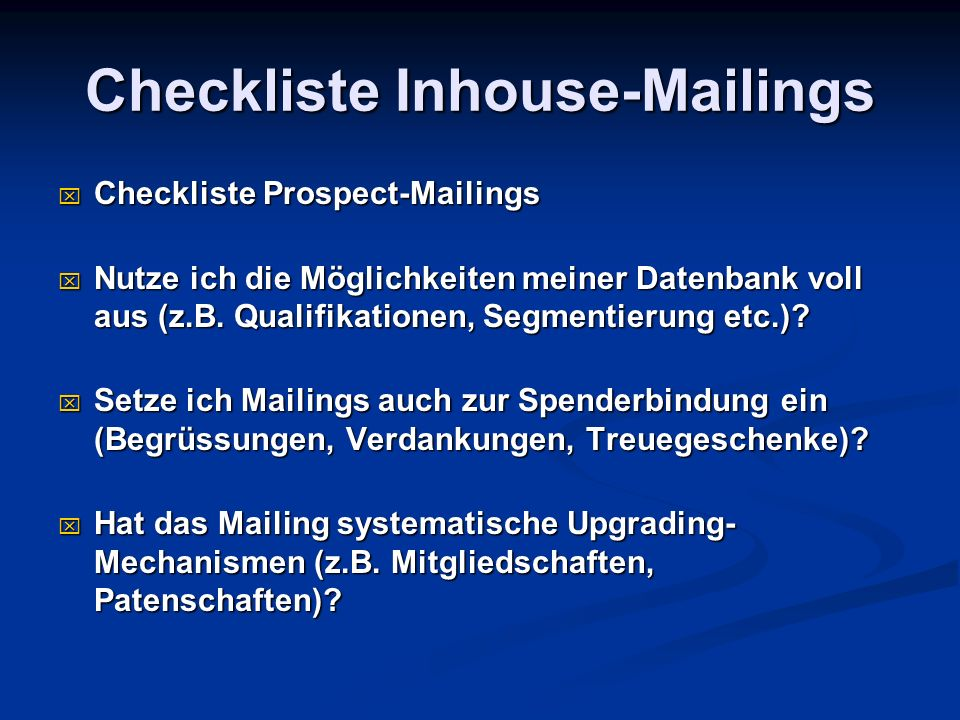 Checkliste Inhouse-Mailings
