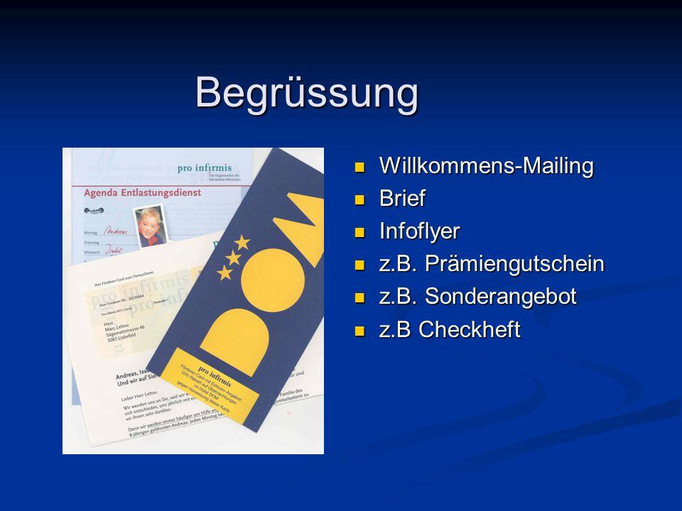Begrüssung Willkommens-Mailing Brief Infoflyer z.B. Prämiengutschein