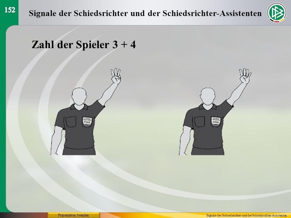 152 Signale der Schiedsrichter und der Schiedsrichter-Assistenten. Zahl der Spieler 3 + 4. Präsentation beenden.