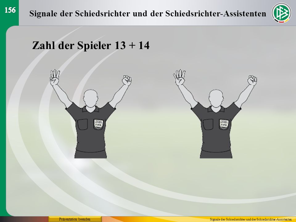 156Signale der Schiedsrichter und der Schiedsrichter-Assistenten. Zahl der Spieler 13 + 14. Präsentation beenden.