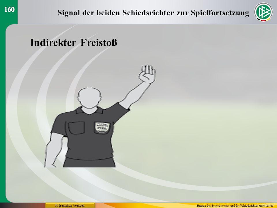 160Signal der beiden Schiedsrichter zur Spielfortsetzung. Indirekter Freistoß. Präsentation beenden.