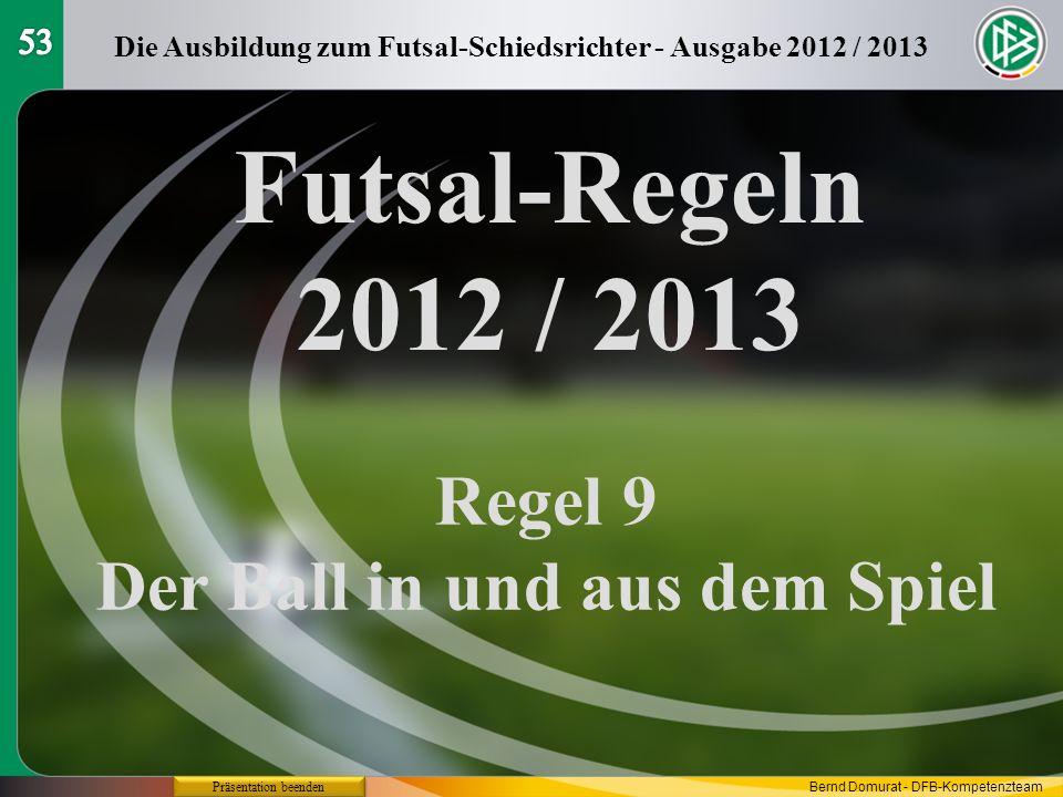 Futsal-Regeln 2012 / 2013 Regel 9 Der Ball in und aus dem Spiel 53