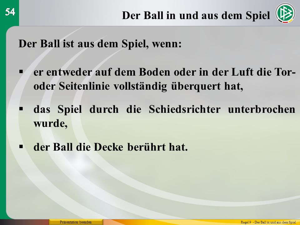 Der Ball in und aus dem Spiel