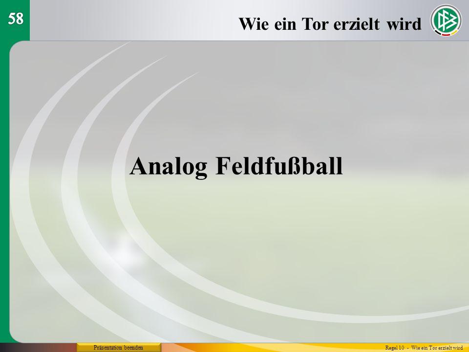 Analog Feldfußball Wie ein Tor erzielt wird 58 Präsentation beenden