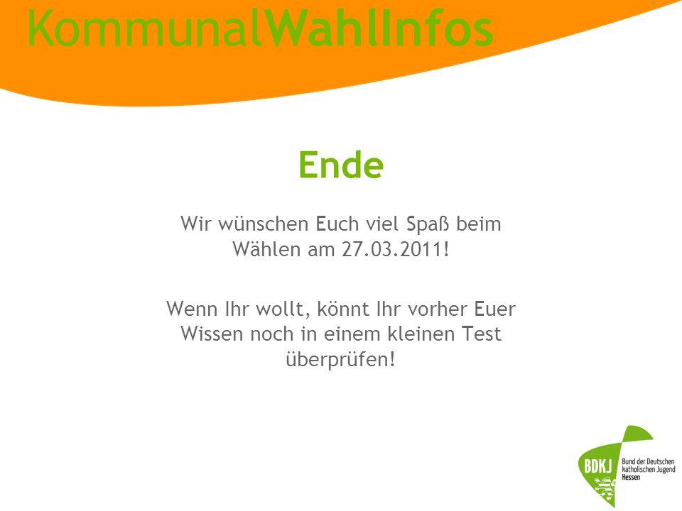 Wir wünschen Euch viel Spaß beim Wählen am 27.03.2011!
