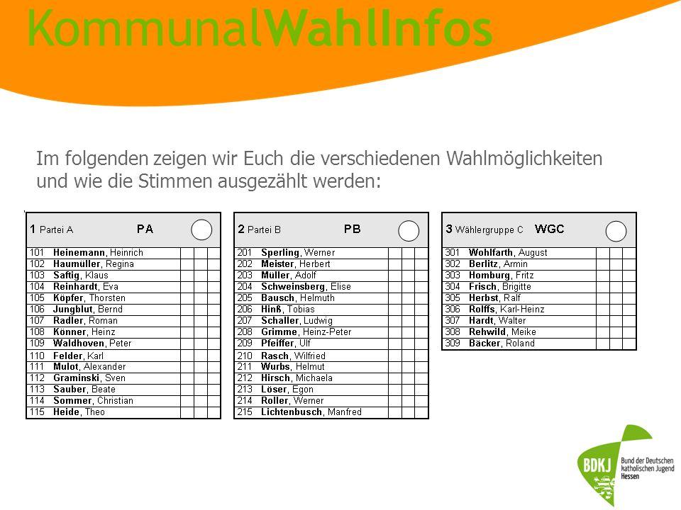 Im folgenden zeigen wir Euch die verschiedenen Wahlmöglichkeiten und wie die Stimmen ausgezählt werden: