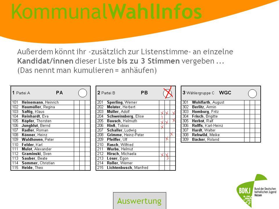 Außerdem könnt ihr -zusätzlich zur Listenstimme- an einzelne Kandidat/innen dieser Liste bis zu 3 Stimmen vergeben ... (Das nennt man kumulieren = anhäufen)