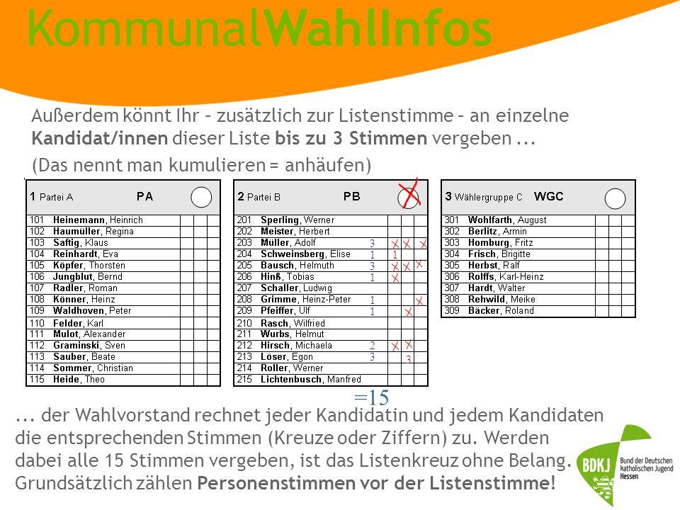 Außerdem könnt Ihr – zusätzlich zur Listenstimme – an einzelne Kandidat/innen dieser Liste bis zu 3 Stimmen vergeben ...