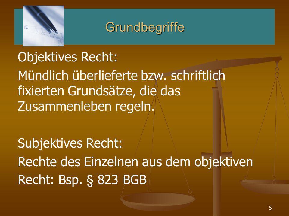 Grundbegriffe Objektives Recht: Mündlich überlieferte bzw. schriftlich fixierten Grundsätze, die das Zusammenleben regeln.
