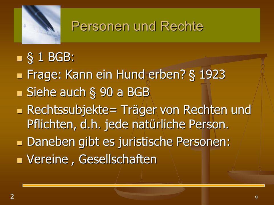 Personen und Rechte § 1 BGB: Frage: Kann ein Hund erben § 1923