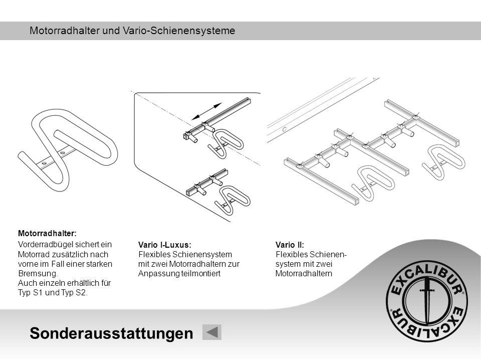 Sonderausstattungen Motorradhalter und Vario-Schienensysteme