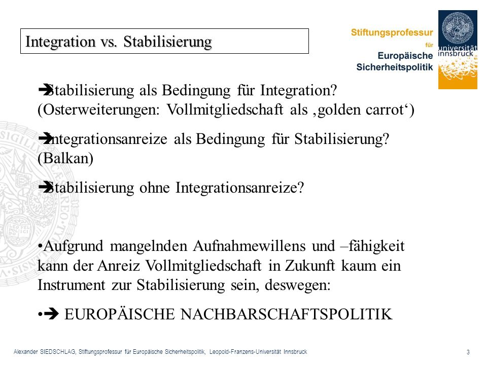 Integration vs. Stabilisierung
