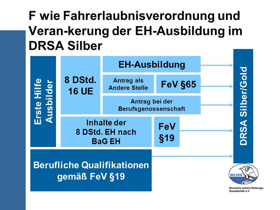 F wie Fahrerlaubnisverordnung und Veran-kerung der EH-Ausbildung im DRSA Silber