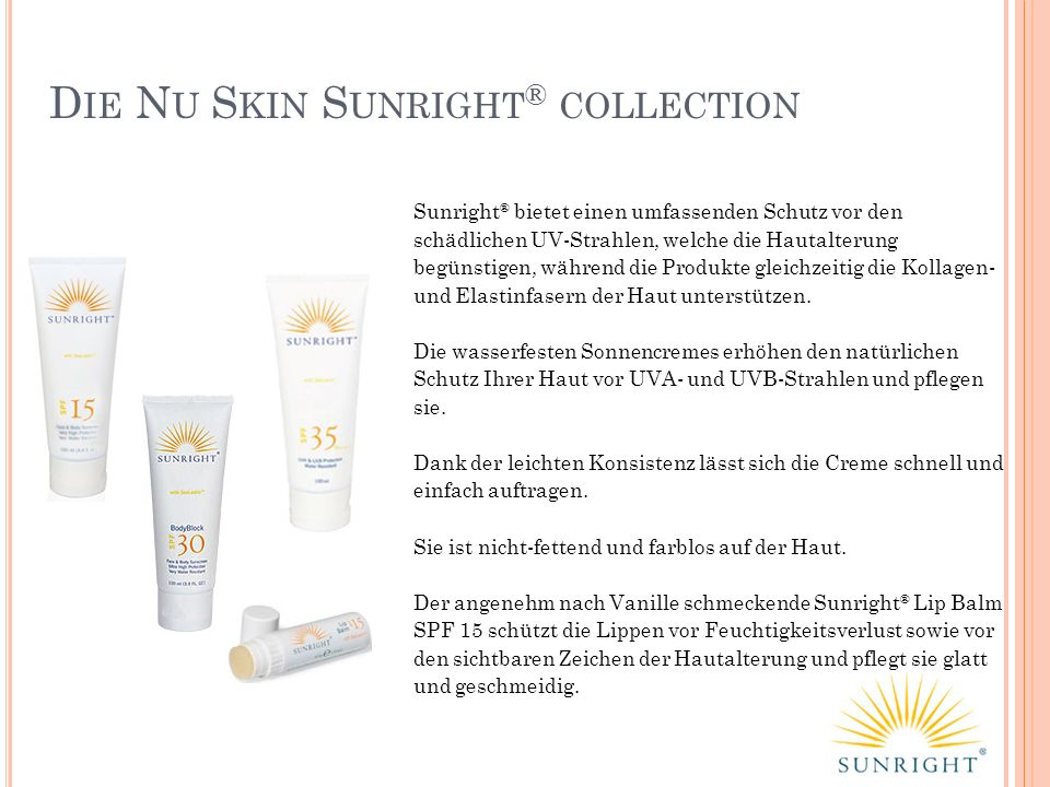 Die Nu Skin Sunright® collection