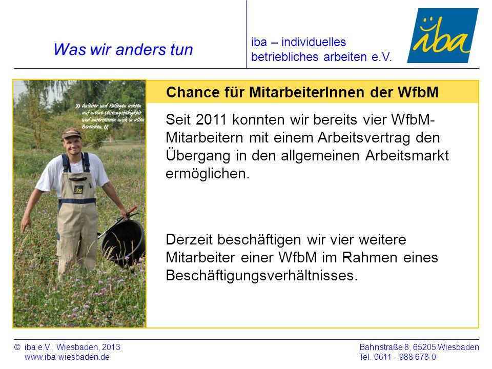Was wir anders tun Chance für MitarbeiterInnen der WfbM