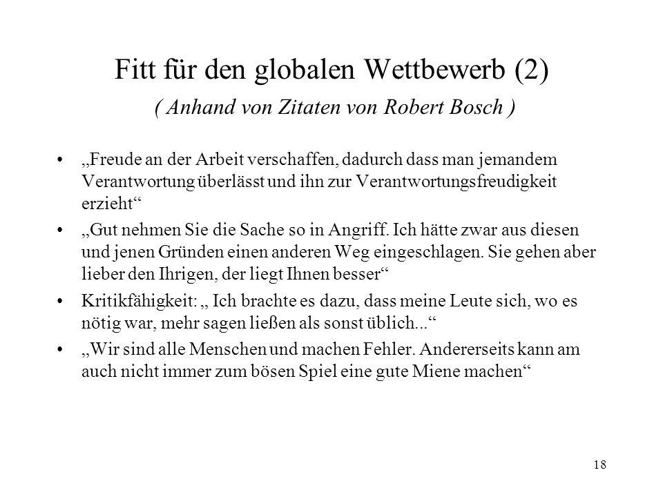 Fitt für den globalen Wettbewerb (2) ( Anhand von Zitaten von Robert Bosch )