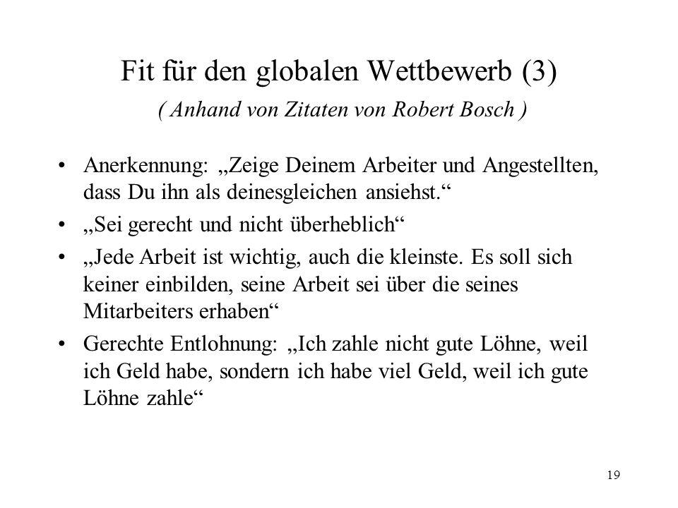 Fit für den globalen Wettbewerb (3) ( Anhand von Zitaten von Robert Bosch )