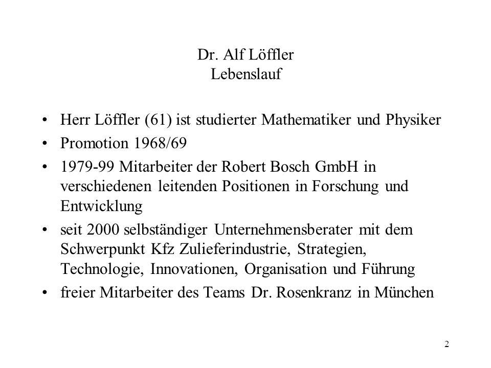 Dr. Alf Löffler Lebenslauf