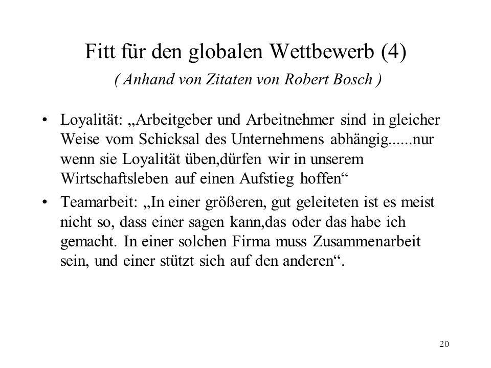Fitt für den globalen Wettbewerb (4) ( Anhand von Zitaten von Robert Bosch )