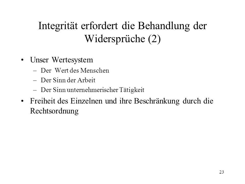 Integrität erfordert die Behandlung der Widersprüche (2)
