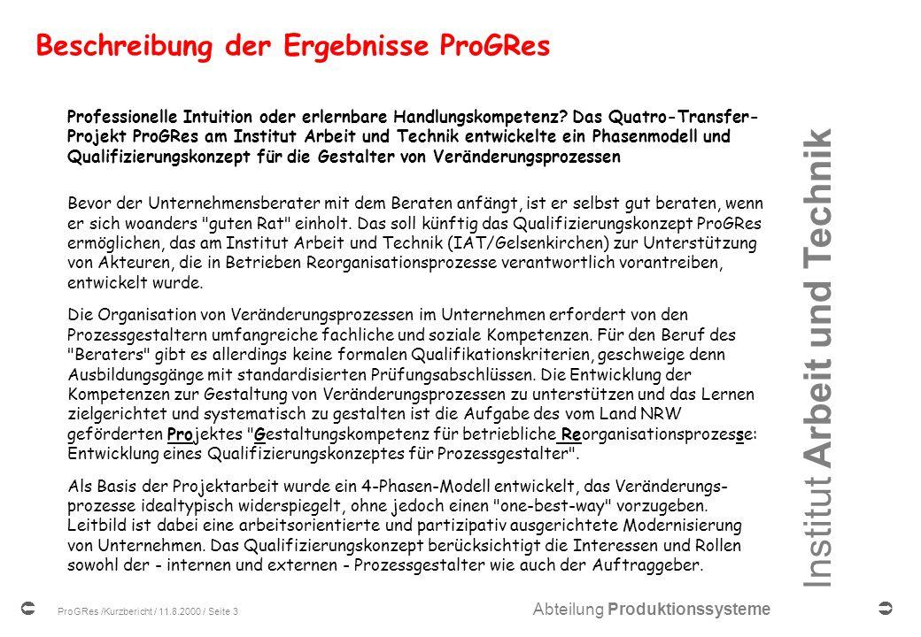 Beschreibung der Ergebnisse ProGRes