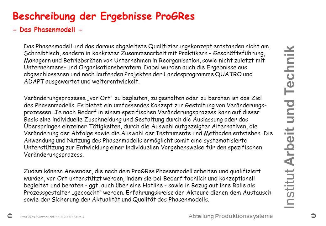 Beschreibung der Ergebnisse ProGRes - Das Phasenmodell -