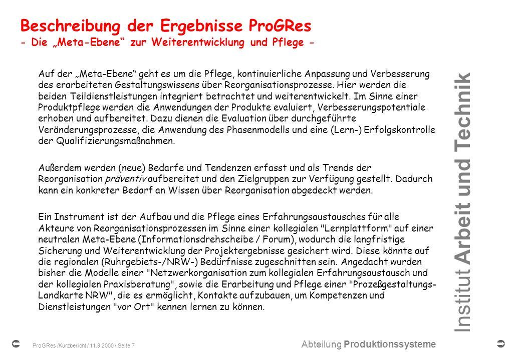 """Beschreibung der Ergebnisse ProGRes - Die """"Meta-Ebene zur Weiterentwicklung und Pflege -"""