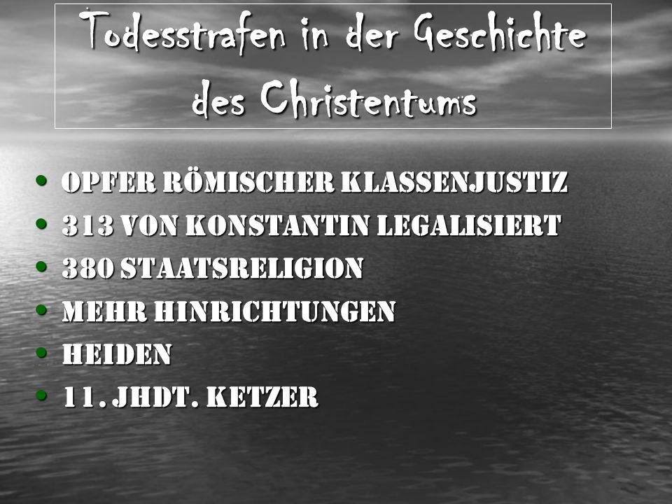 Todesstrafen in der Geschichte des Christentums