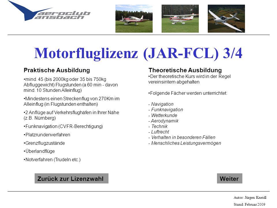 Motorfluglizenz (JAR-FCL) 3/4